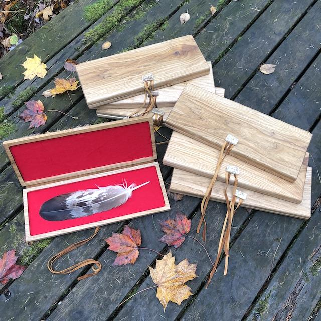 Feather Tribe Free Gift Box Spirit Bird Feather Timber Feather Bald Eagle Feather Hair Stick Wood Feather Hand Carved Wooden Feather