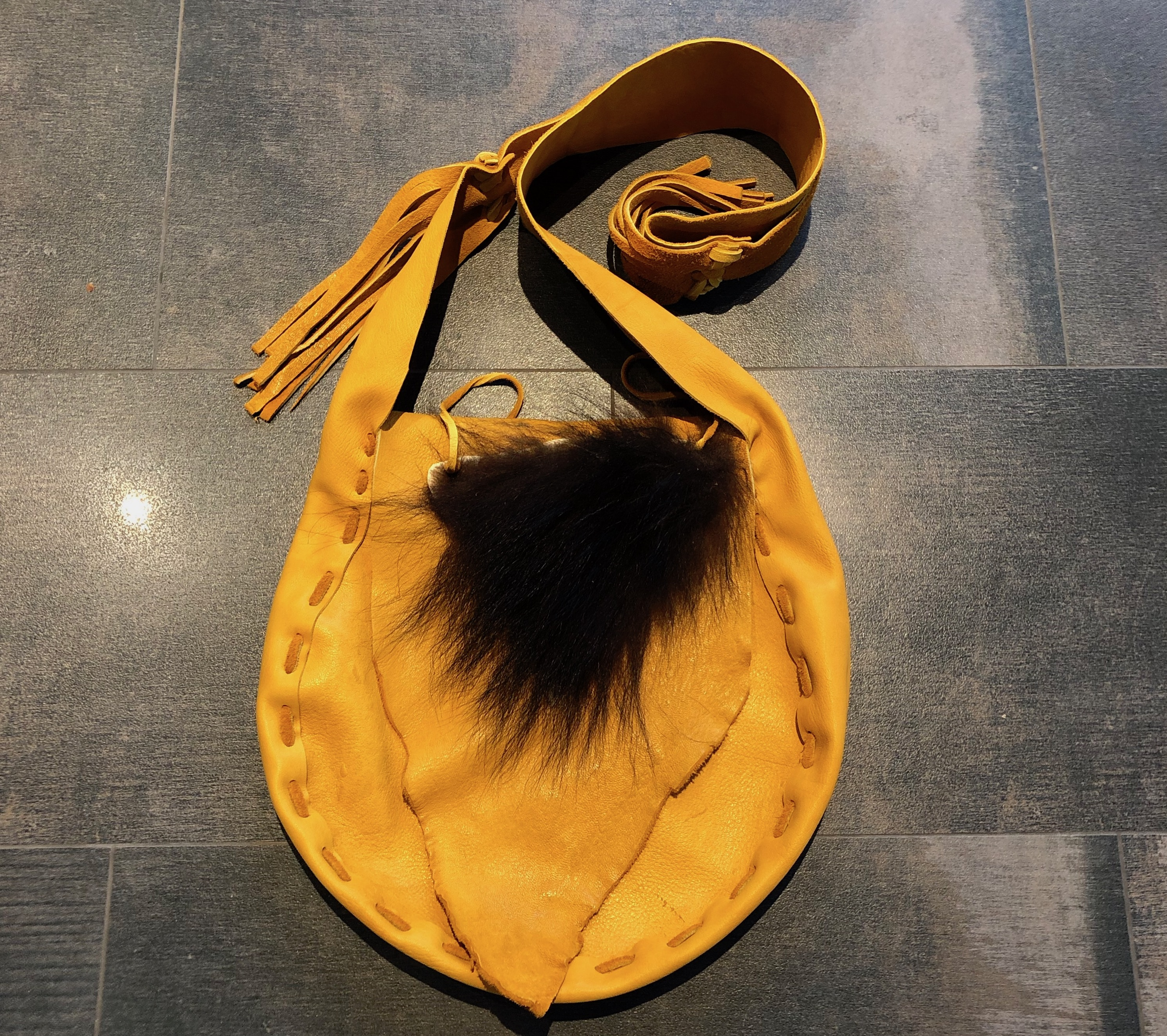 Moose Leather Hand Bags With Bear Fur Trim Tribal Spirit